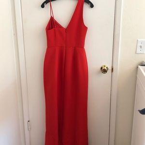 BCBG Asymmetrical shoulder maxi evening dress